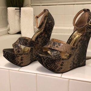 Cathy Jean snakeskin strappy wedges